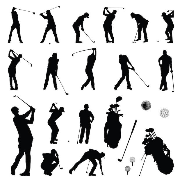 Joueur de golf - joueur de golf jouant silhouette Vecteur Premium