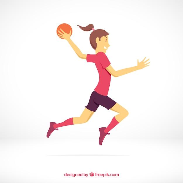 Joueur de handball athlétique avec un design plat Vecteur gratuit