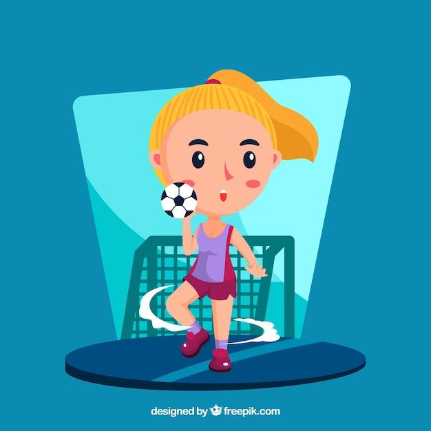 Joueur de handball heureux avec un design plat Vecteur gratuit