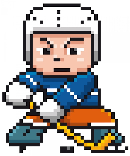 Joueur De Hockey Sur Glace Cartoon Pixel Design