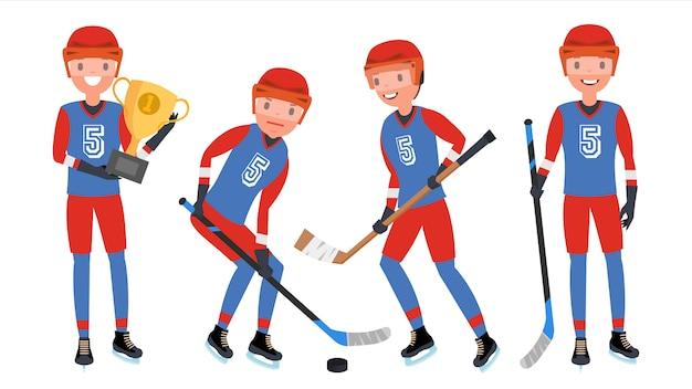 Joueur De Hockey Sur Glace Classique Vecteur Premium