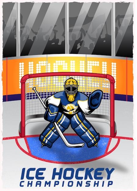 Joueur de hockey sur glace dans le stade Vecteur Premium