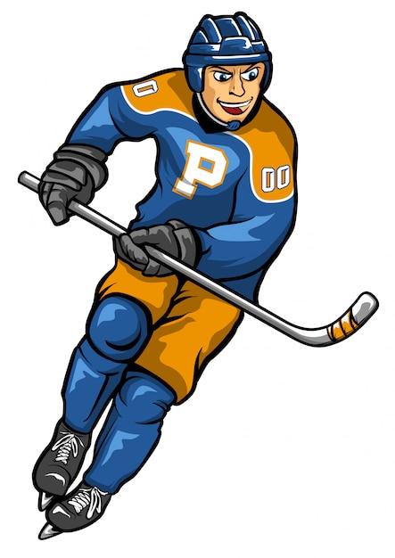 Joueur de hockey sur glace objet de vecteur de stock Vecteur Premium