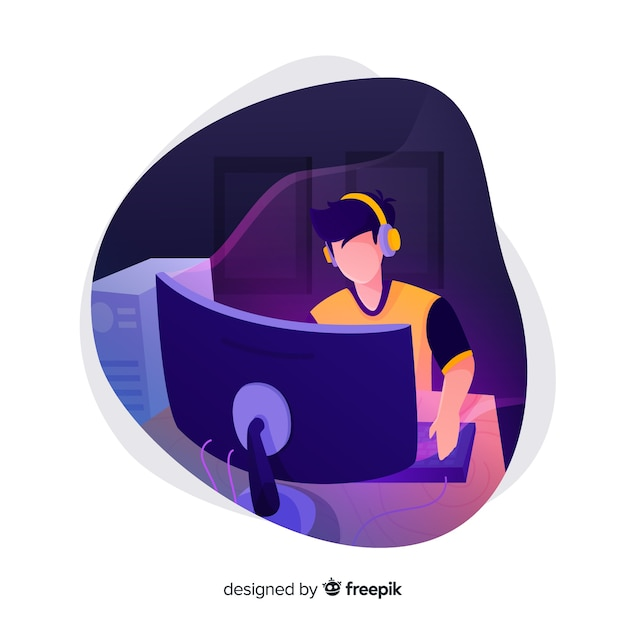 Joueur Jouant Avec L'ordinateur Vecteur gratuit