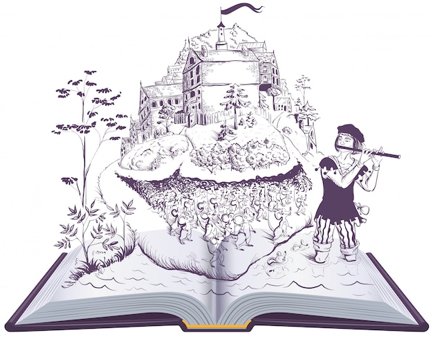 Joueur de pieds de hamelin livre ouvert illustration conte de fées Vecteur Premium