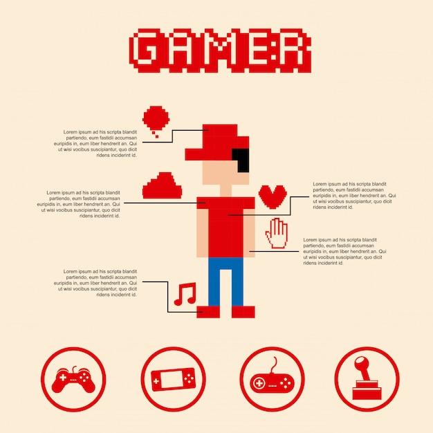 Joueur pixel sur illustration vectorielle rose bakground Vecteur Premium