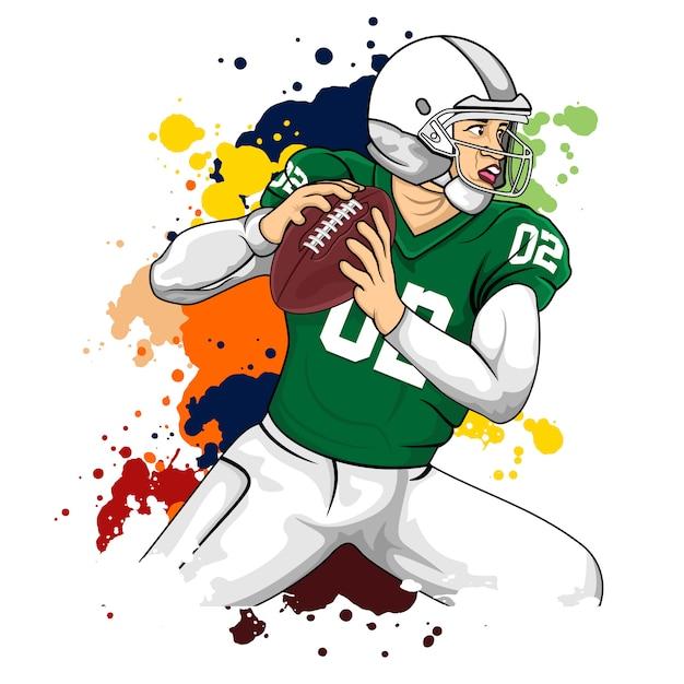 Joueur vert football américain Vecteur Premium
