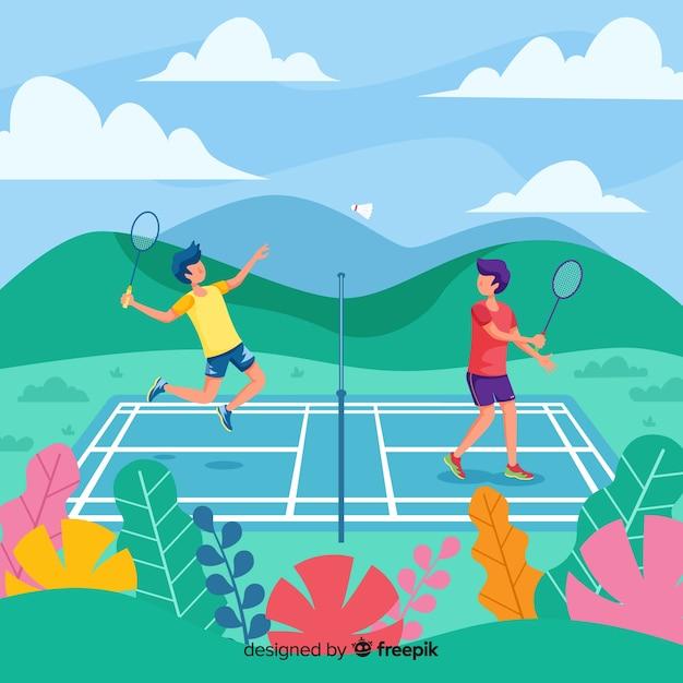 Joueurs de badminton Vecteur gratuit