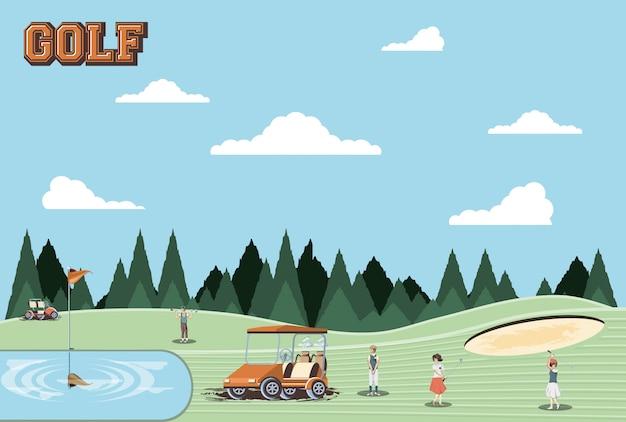 Les joueurs de golf dans le parcours Vecteur Premium