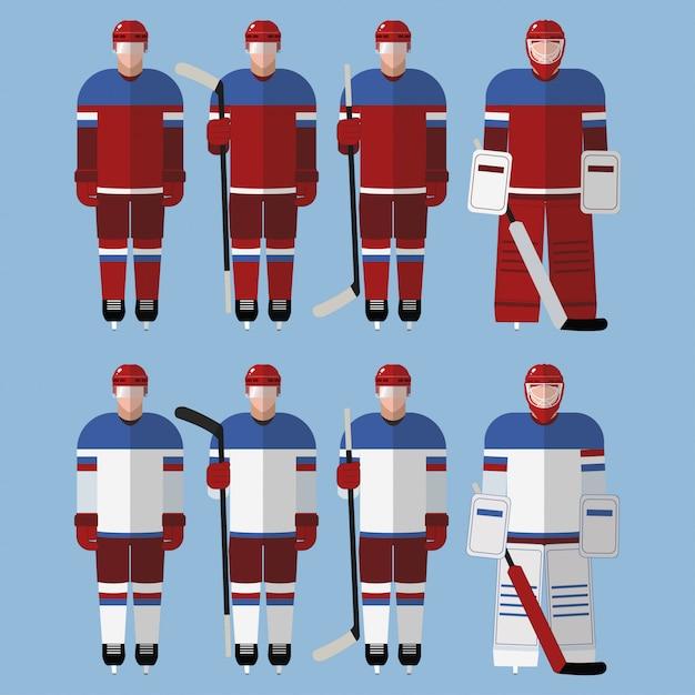 Joueurs De Hockey Vecteur Premium