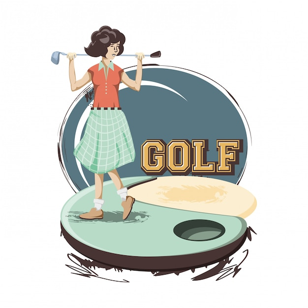 Joueuse de golf dans le parcours Vecteur Premium