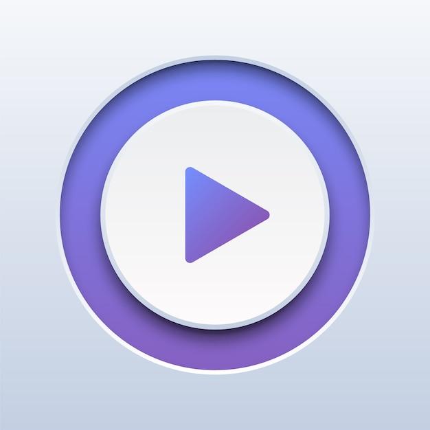 Jouez le bouton sur le blanc Vecteur Premium