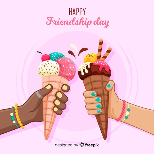 Jour de l'amitié fond style dessiné à la main Vecteur gratuit
