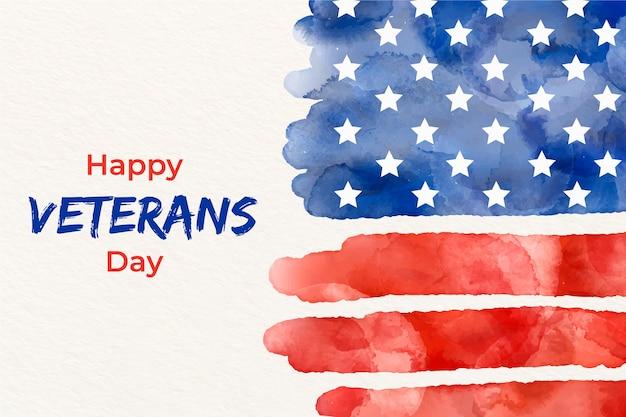 Jour des anciens combattants avec drapeau aquarelle Vecteur gratuit