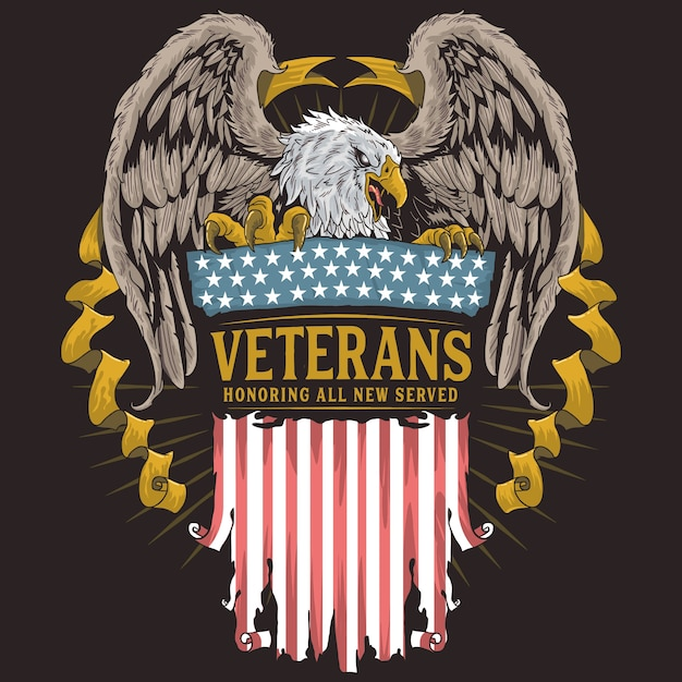 Jour des anciens combattants eagle Vecteur Premium
