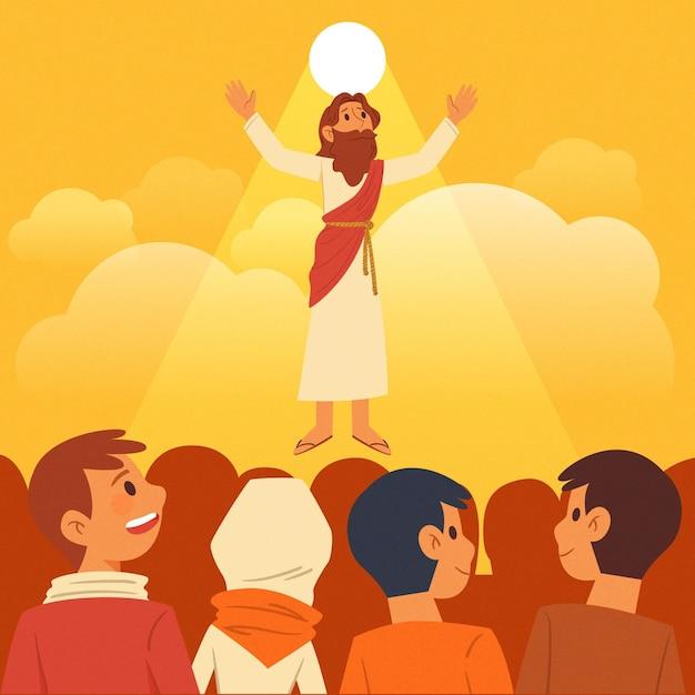Jour De L'ascension Biblique Et Adeptes Vecteur gratuit