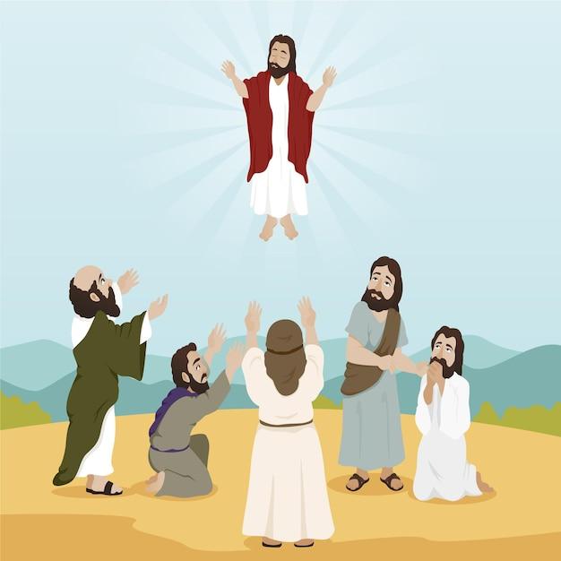 Jour D'ascension Illustration Design Plat Avec Jésus Vecteur gratuit