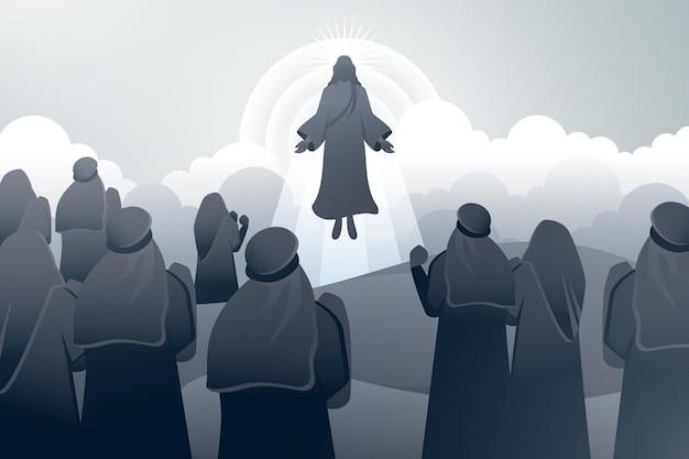 Jour De L'ascension Avec Jésus Vecteur gratuit