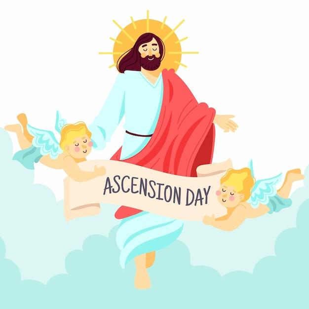 Jour De L'ascension De La Résurrection De Jésus Vecteur gratuit