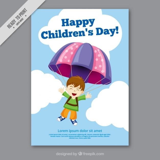 Le Jour De La Carte De Voeux Des Enfants Vecteur gratuit