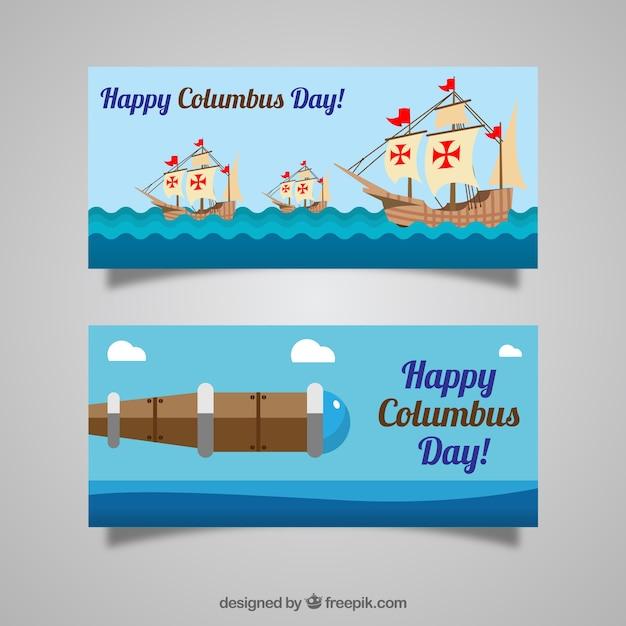 Jour columbus heureux avec des bannières plates Vecteur gratuit
