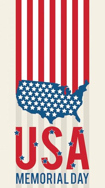 Jour commémoratif américain usa patriotique Vecteur Premium