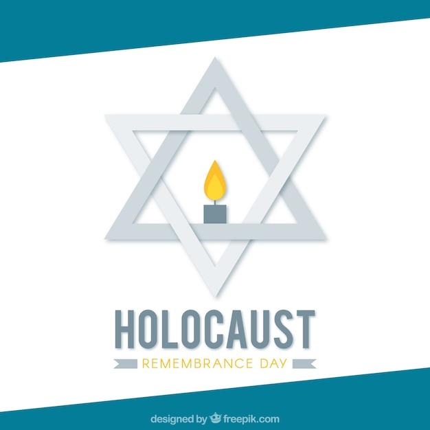 Jour De Commémoration De L'holocauste, étoile Grise Avec Une Bougie Vecteur gratuit