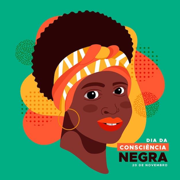 Jour De La Consiencia Negra Design Plat Vecteur gratuit