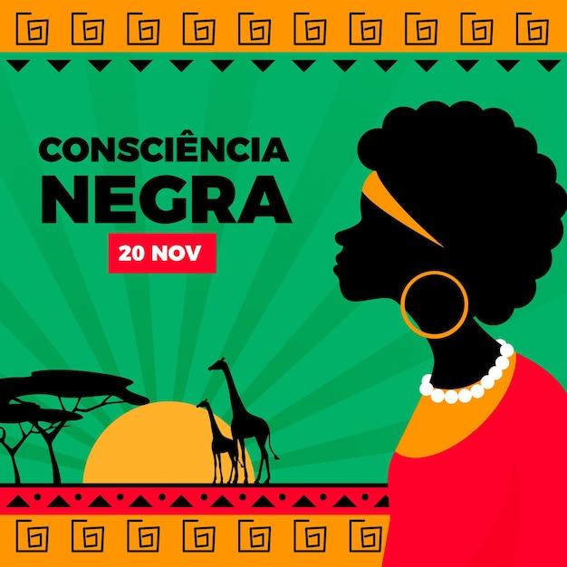 Jour De La Consiencia Negra Design Plat Vecteur Premium