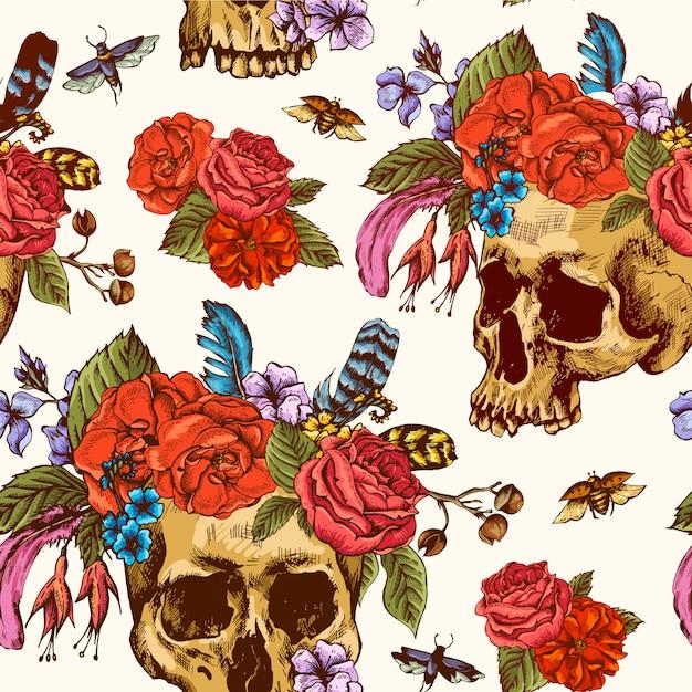 Jour de crâne et de fleurs de la mort seamless pattern Vecteur Premium