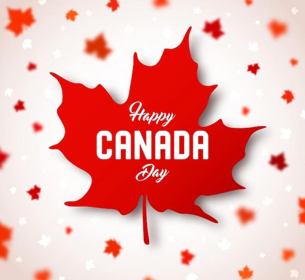 Jour du canada. feuille d'érable canadienne rouge avec lettrage Vecteur Premium