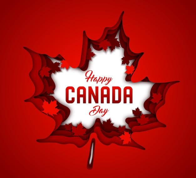 Jour du canada. papier d'art de feuilles d'érable canadienne rouge Vecteur Premium