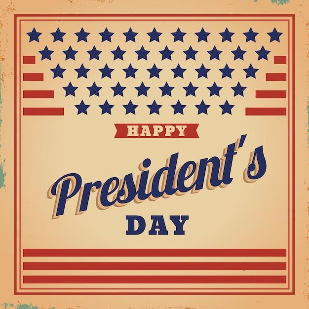 Jour Du Président Du Drapeau Des états-unis Vintage Vecteur gratuit