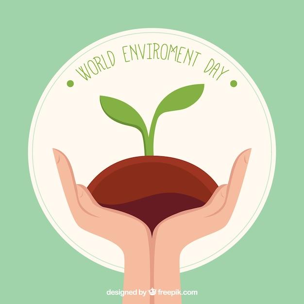 Le jour de l'environnement mondial fond des mains avec la plante Vecteur gratuit