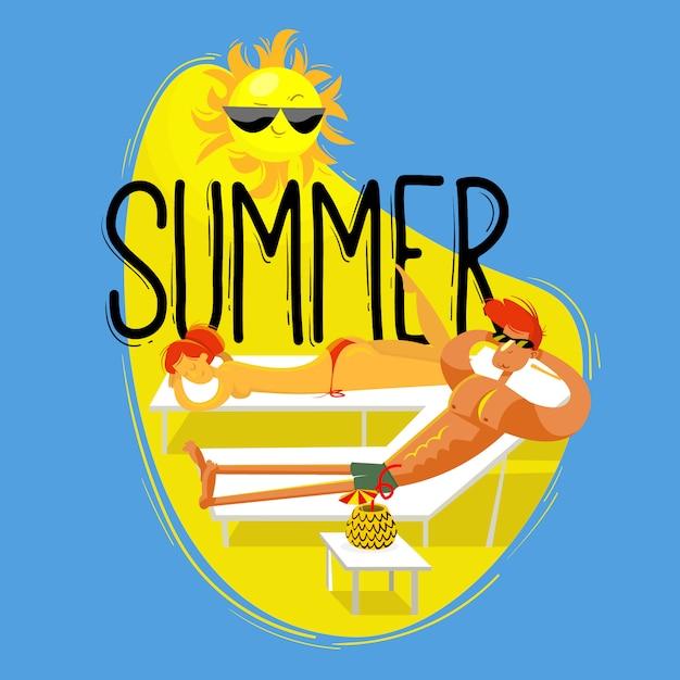 Jour d'été Vecteur Premium