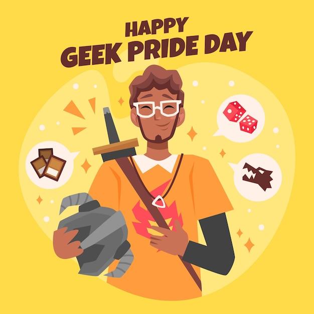 Jour De Fierté Geek Homme Heureux Portant Des Lunettes Vecteur gratuit