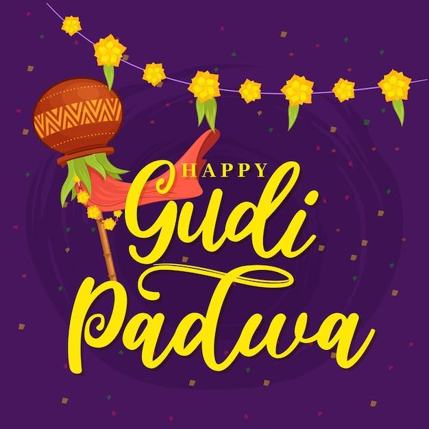 Jour De Gudi Padwa Dessiné à La Main Vecteur gratuit