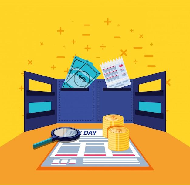 Jour d'impôt avec document Vecteur Premium