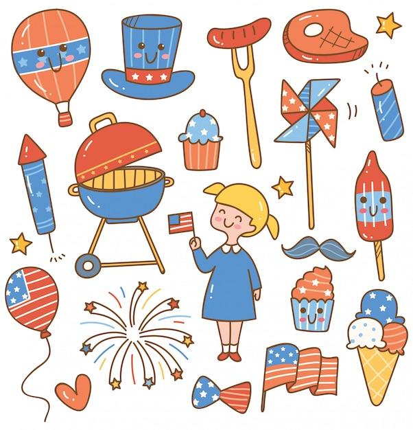 Jour de l'indépendance 4 juillet éléments de conception définie Vecteur Premium