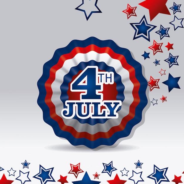 Jour de l'indépendance, 4 juillet, usa Vecteur gratuit