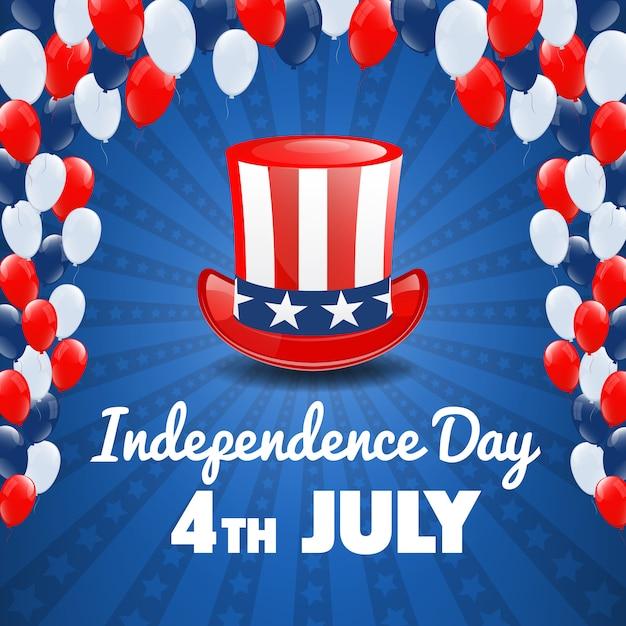 Jour de l'indépendance américaine. 4 juillet usa holiday. contexte de la fête de l'indépendance. illustration vectorielle Vecteur Premium