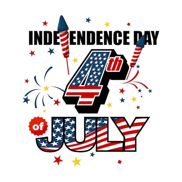 Jour de l'indépendance de l'amérique 4 juillet Vecteur Premium