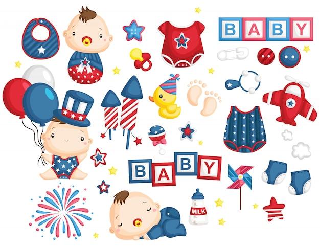 Jour de l'indépendance bébé Vecteur Premium
