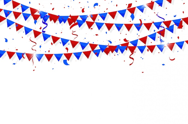 Jour de l'indépendance du 4 juillet. drapeaux colorés Vecteur Premium
