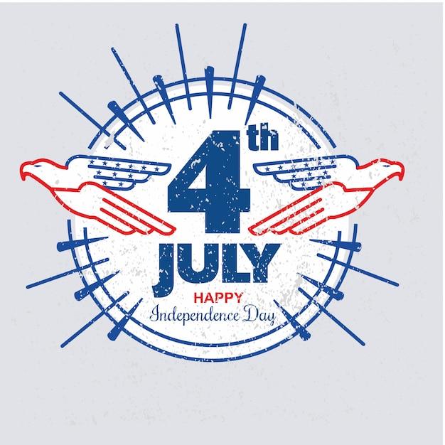 Jour de l'indépendance des états-unis avec l'aigle rond modèle dans le style grunge ou vintage Vecteur Premium