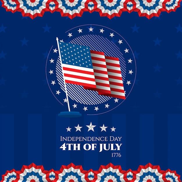Jour De L'indépendance états-unis D'amérique 4 Juillet Contexte Patriotique Vecteur Premium