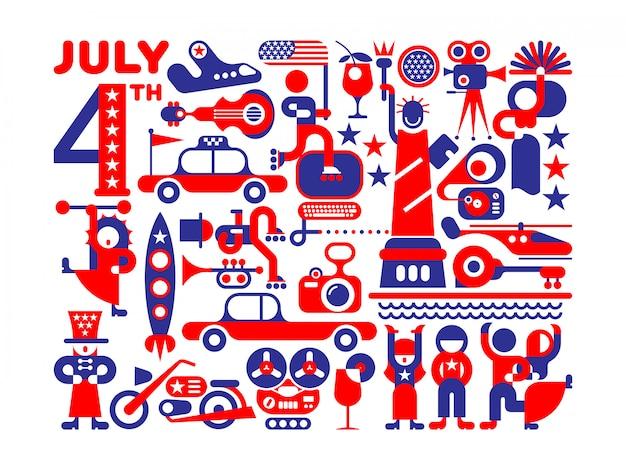 Jour De L'indépendance Des Etats-unis Vecteur Premium