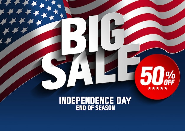 Jour de l'indépendance grande vente Vecteur Premium