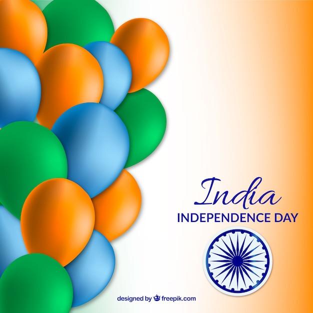 Jour de l'indépendance de l'inde avec des ballons Vecteur gratuit