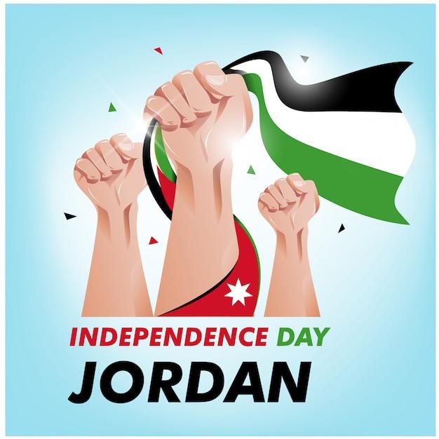 Jour de l'indépendance de la jordanie Vecteur Premium
